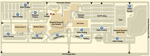 Campus map of Katy Hospital