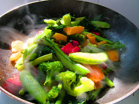 Veggies cooking in a pan