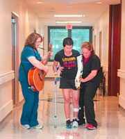 Patient participating in music therapy