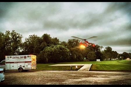 Life Flight Helicopter Taking Off