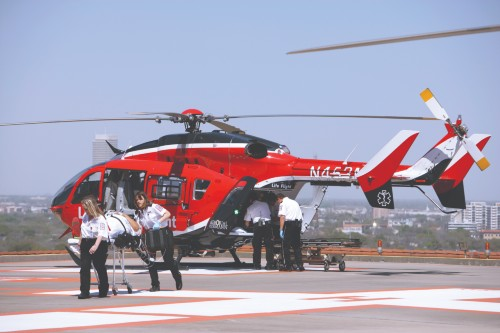 Life Flight transferring patient