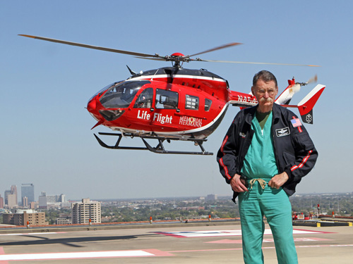Dr. Duke in Front of Life Flight Helicopter
