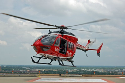 Life Flight helicopter landing on helipad