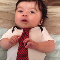 Anthony wearing a tie
