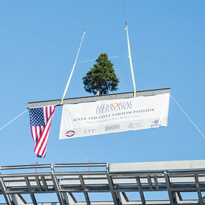 Raising banner for topping out ceremony