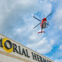 Life Flight flying over Memorial Hermann