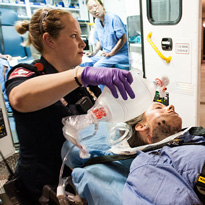EMT perform disaster drill